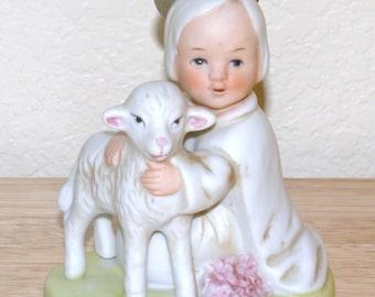 Vintage Angel and Lamb Porcelain Figurine