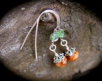Sterling Silver Pink Rose Earrings