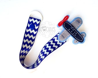 Baby boy Pacifier clip, Baby pacifier holder, Plane pacifier clip, red chevron , blue chevron