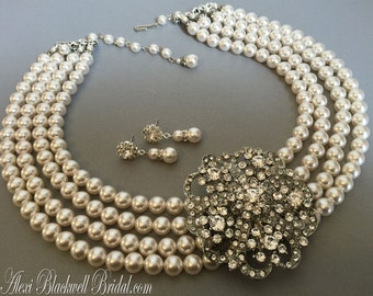 Audrey Hepburn Necklace with Pearl Rhinestone Brooch multistrand Statement Swarovski Pearls Breakfast at movie Holly Golightly Bridal gift
