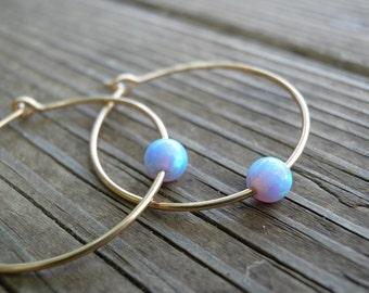 Gold Opal Hoops Earrings, Bridal Jewelry, Bridesmaids Jewelry, Tiny 4mm Blue Opal Hoops Earrings, White/Pink Opal Earrings, Statement Gift
