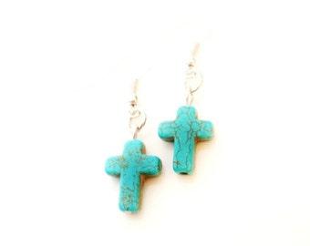 Turquoise Cross Earrings Turquoise Jewelry Christian Jewelry Christian Gift Country Girl Jewelry Sale Jewelry Trending R1195