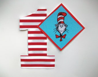 DIY No-Sew - Dr Seuss Cat in the Hat Applique and Number - Iron On