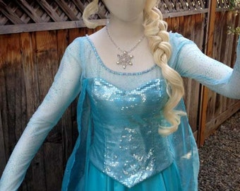 Elsa Frozen Light Aqua Glitterized Snow Queen Version H Adult Costume Custom Made