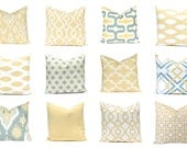 Sofa Pillow Covers - Throw Pillow Covers - Soft Gold Pillow Covers - 12 Prints - Ikat, Solid, Trellis Prints - Living Room Decor - Yellow