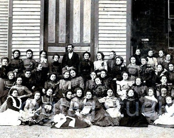 Vintage Photo, 1900 School for Girls with Slave, Antique Photo, Old Photography, Digital Download,Wall Decor