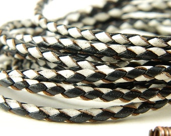 Braided Leather Cord Necklace with Hand Made Copper Wire End Caps and Clasp Black and White
