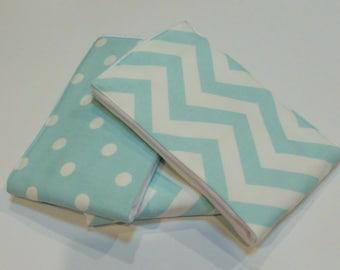 Diaper Burp Cloth set of 3  - Blue Chevron and Dots