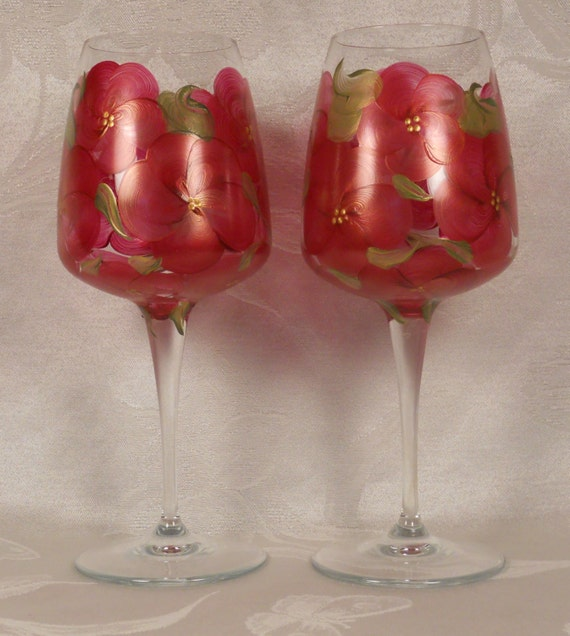 Hand Painted Wine Crystal Stems (2) - Floral Bouquet Golded Red