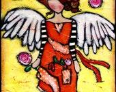 Blessings Angel wood 6x12 mixedmedia illustration