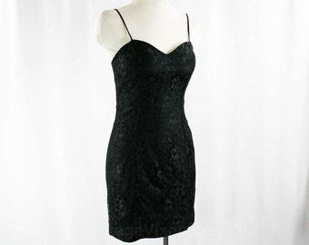 Size 2 Flirty 1990s Black Lace Fitted Dress - XXS Mini Dress - Club Wear LBD - 90s Rampage Label - Strappy Cocktail Dress - Bust 32 - 42952