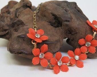 Vintage Flower & Chain Necklace