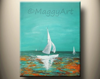sail boat-original abstract painting,ocean,wave,reflection. 20x16inch on stretched canvas, ready to hang