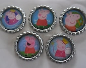 5 x Peppa Pig Inspired Flattened Bottle Caps - Great for Jewellery, Bows, Cards, Magnets