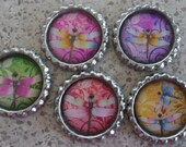 5 x Dragonfly Inspired Flattened Silver Bottle Caps - Great for Jewellery, Cards, Keyrings