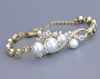 Gold Bridal Bracelet,  Gold Crystal & Pearl Bracelet, Pearl Wedding Jewelry, Bridal Jewelry, TILLY