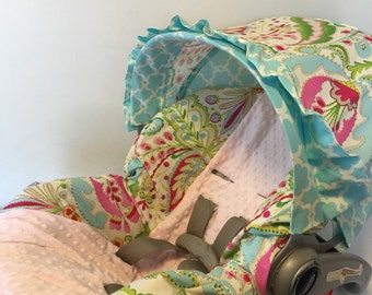 KUMARI GARDENS fabric & baby pink MINKY Infant Car Seat Cover
