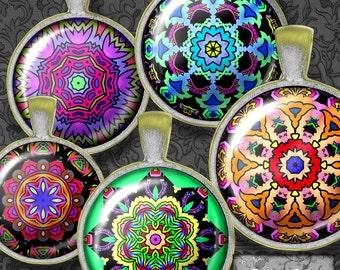 Printable Mandalas, Kaleidoscopes,Digital Collage, Digital Sheet, Digital Art, 1 Inch Circles,  Instant Download, Printable Images, CS 31