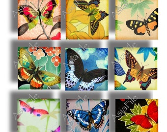 Butterflies Printable Digital Collage Sheet Asian Clipart Magnets Pendant Images 1 Inch Squares  Scrapbooking 24 Different CS 119