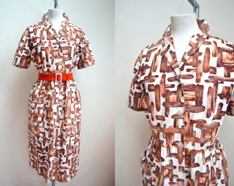 1950s 60s Mid Century print shirt dress in brown & white / 50s plus size shirtwaister - XXL 3XL
