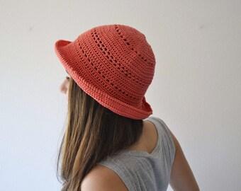 Women hat Crochet bucket hat Sun cloche hat for summer orange hat accessories summer
