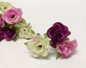 Silk Flowers - 30 SMALL Sweetheart Roses in Purple Cream Lavender Pink - Dry Look - MINIATURE Roses