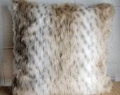 Snow Leopard Faux Fur Pillow Cover