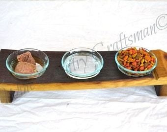 "DOVELA - ""Macka"" - Wine Barrel Cat Food Dish - 100% recycled"