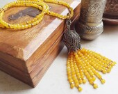 Ethnic Turkish Tassel Necklace Yellow Facet Jade Gemstone Statement Gypsy Hippie Bohemian Artisan - One Of A Kind