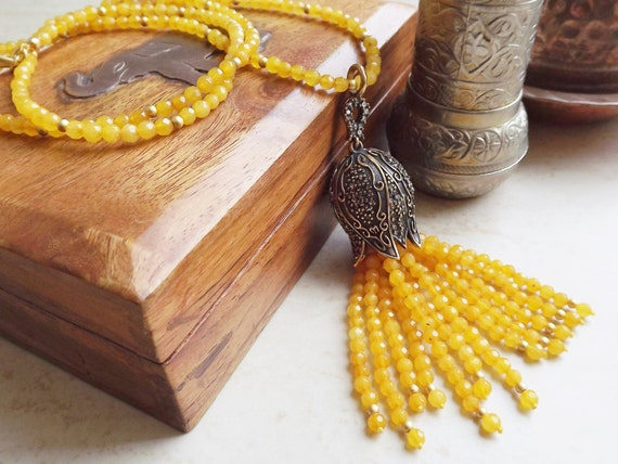 Ethnic Turkish Tassel Necklace Yellow Facet Jade Gemstone Statement Gypsy Hippie Bohemian Artisan - One Of A Kind