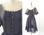 VINTAGE 1940s Polka Dot Dress Sheer Blue