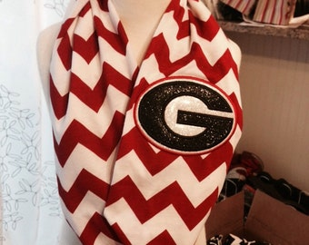 Georgia Inspired Infinity Scarf, Gainesville, TX Football, Gainesville High School, Georgia G Scarf, Sparkly G Scarf