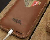 iPhone 6s 6 Natural Leather Case - Vegetable Tanned Leather, 100% Wool Felt HE-6-LB