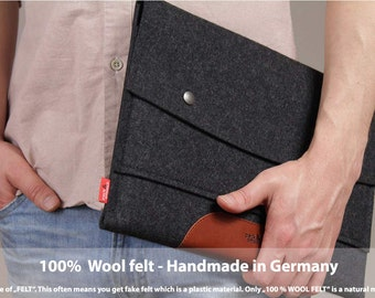 """13"""" MacBook Pro Retina sleeve, case, cover, 100% wool felt, vegetable tanned leather, Hampshire LTS-ALB-PRO13R"""