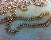 petite 9mm High Quality solid brass matte gold plated Fish bone chain 1 foot