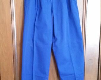 SALE Vintage Jones Wear Royal Blue Pants Elastic Waist Marked Size 16 Ladies Pants