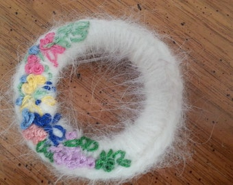 SALE Vintage Wreath Brooch Or Pin White Mohair Embroidery Hand Made 1980s