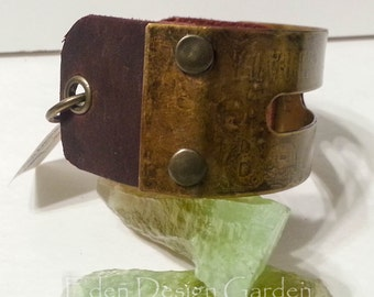 Recycled etched metal leather and brass cuff bracelet with adjustable chain