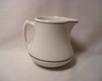 Vintage Shenango China White with 2 Black Stripes Creamer