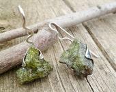Rough Peridot Earrings. Peridot In Lava Matrix Earrings. Olivine Earrings. Dangle Earrings. Natural Peridot. Raw Peridot Earrings