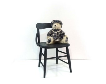 Primitive childrens chair, kids wood chair, Kids seating, Navy blue