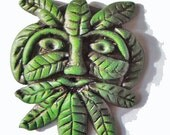 Miniature Hand made polymer clay Dolls house Green Man wall plaque 12th 1 inch scale