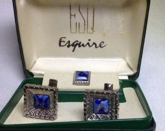 Silver Tone Cufflinks and Tie Tack // by Esquire // Original Box