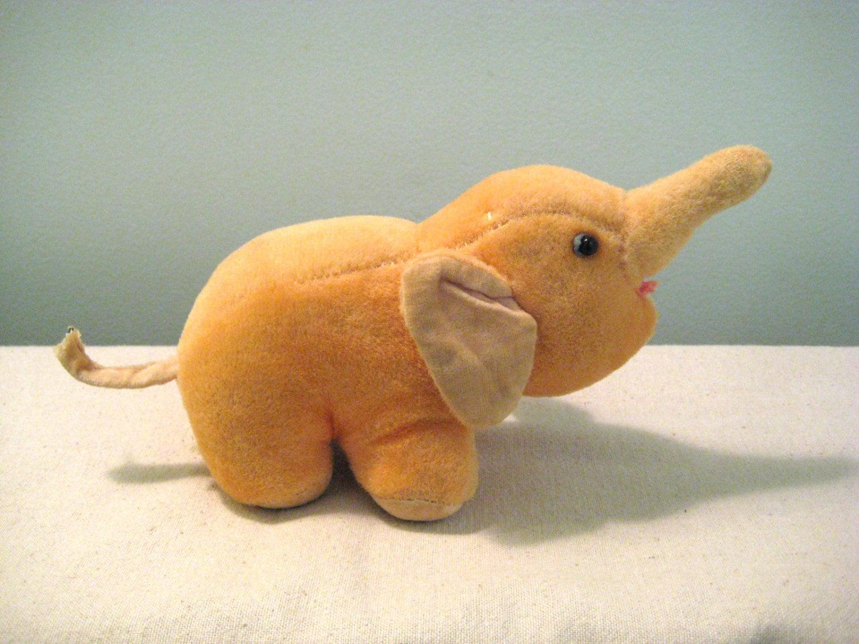 Elephant Stuffed Toy : Vintage velvet elephant stuffed toy