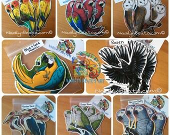 Handmade Bird Stickers & Magnets