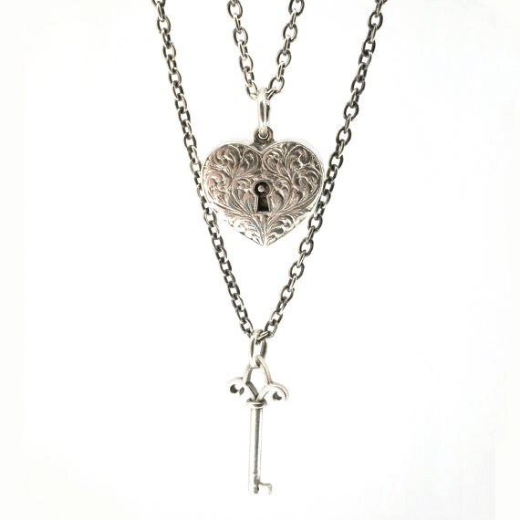 Matching Locking Heart and Key Necklaces