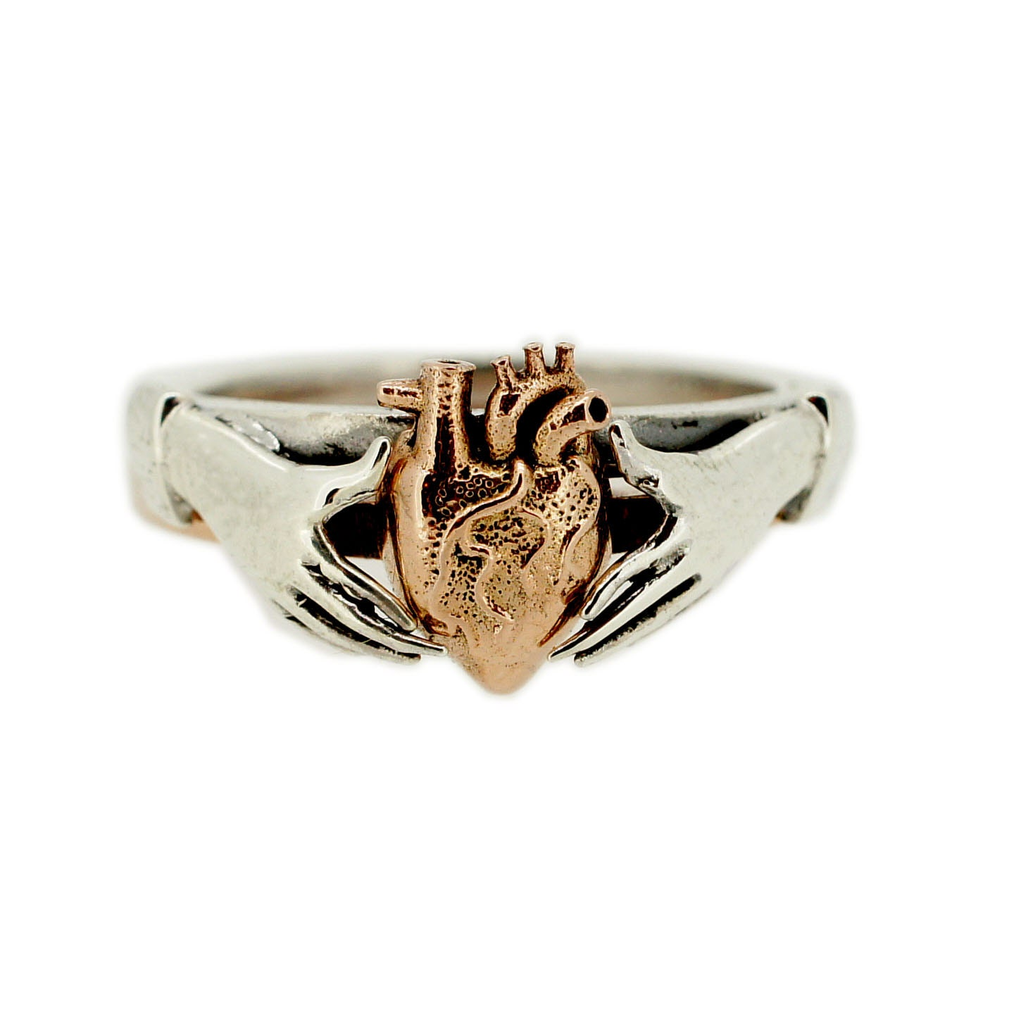 anatomical stacking claddagh ring in gold and