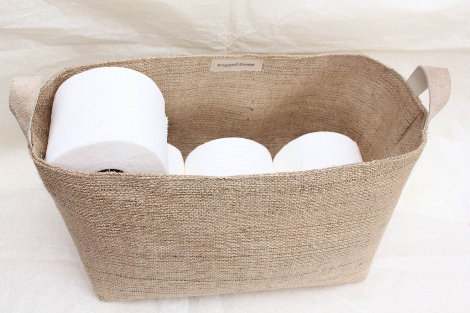 Hessian burlap toilet roll storage basket bucket eco rustic for Loo roll storage