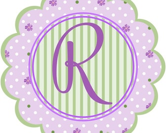 Flowers and Initial Sweet Lavender Scalloped iron ons