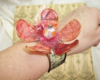 """pink flower blossom cuff bracelet, upcycled, Agate, paper, lacquer, fringe, SRAJD, watering can,  """"Bloom Where You're Planted"""" by PyxeeStyx"""